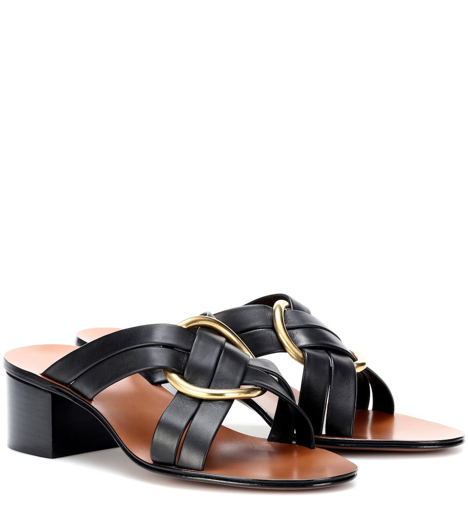 Women'S Rony Leather Mid-Heel Sandals in Black