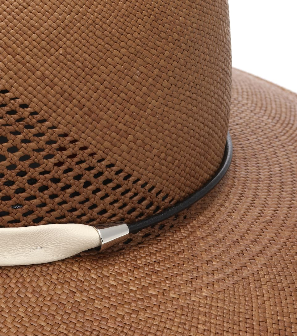 ab9096b87cd Zoe Leather-Trimmed Straw Hat - Rag   Bone