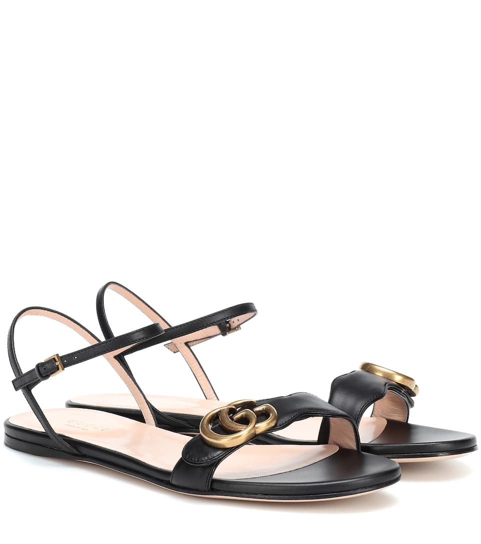 bd37ae017 Double G Strap Leather Sandals - Gucci | mytheresa.com