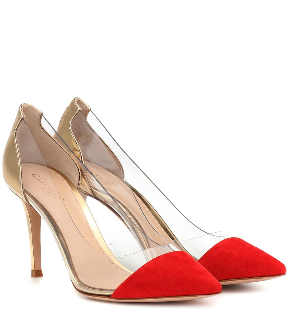Plexi Suede And Leather Pumps by Gianvito Rossi