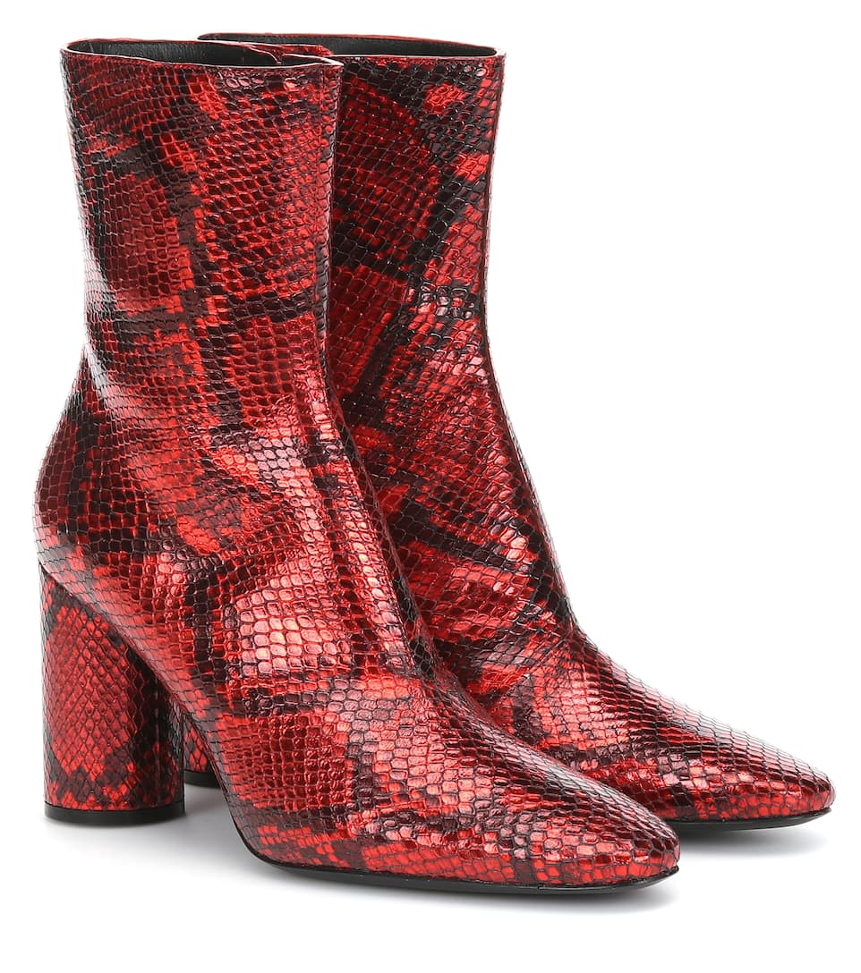 Snake Effect Leather Ankle Boots by Balenciaga