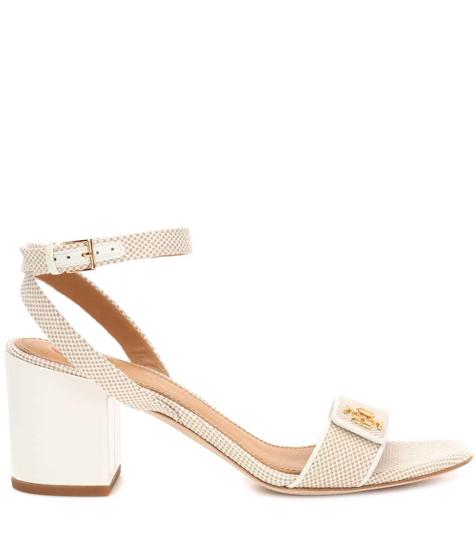 fe81eaf99 Tory Burch - Kira leather-trimmed canvas sandals