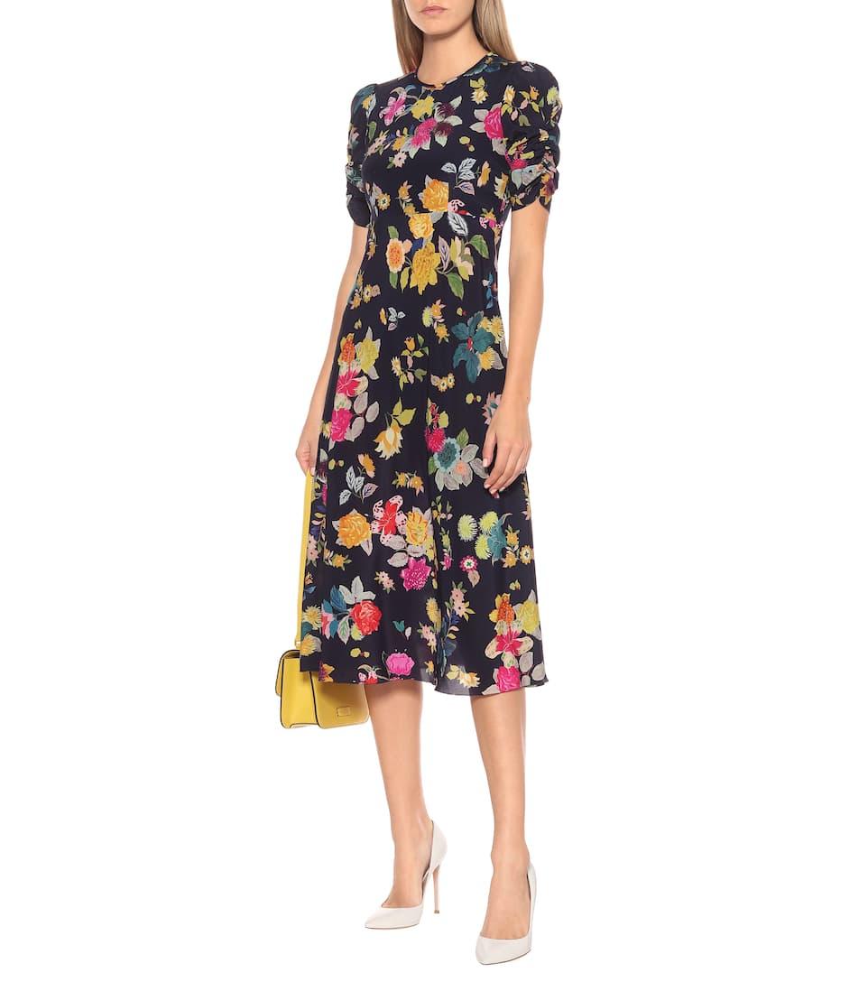 Etro - Floral stretch-silk crêpe midi dress