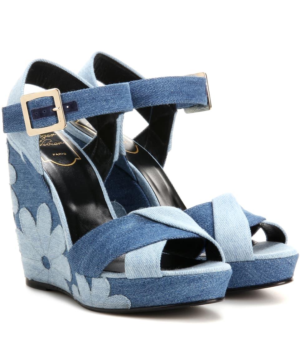 roger vivier denim patchwork wedge sandals mytheresa
