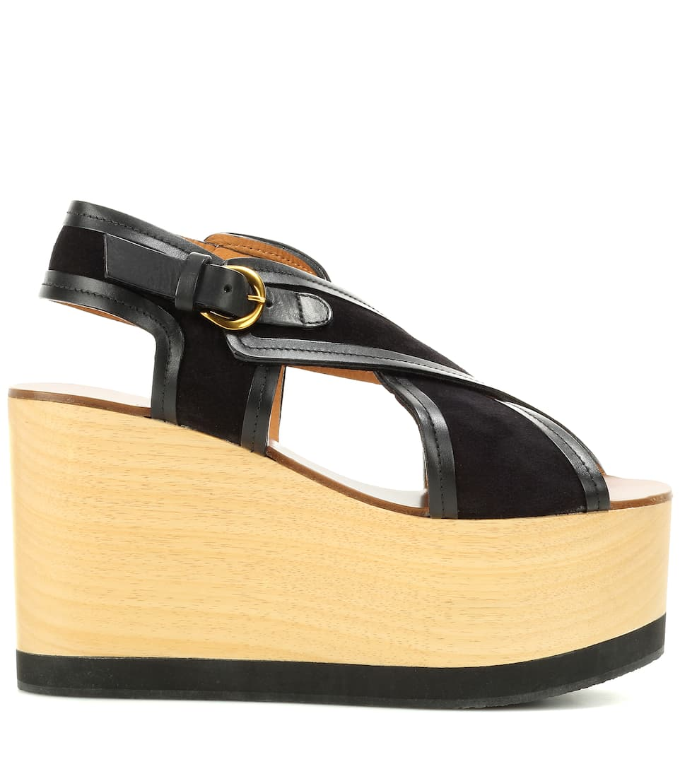 marant zlova suede and wood wedge sandals