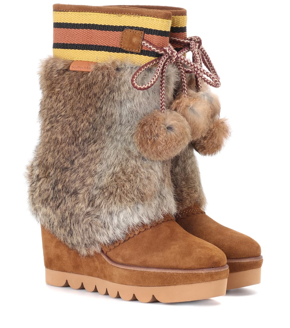 See By Chloé Boots aus Veloursleder mit Fell
