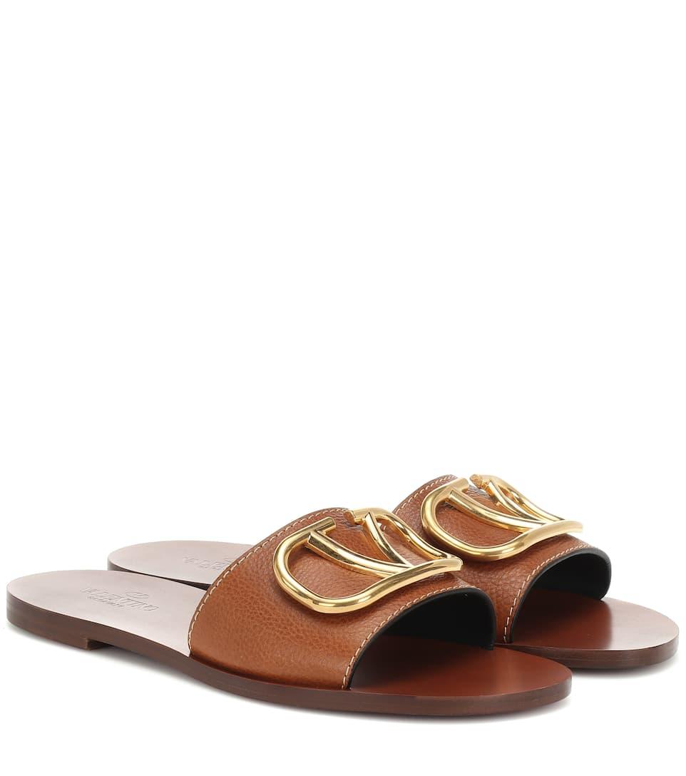 06538b6924b2 Valentino Garavani Go Logo Leather Slides