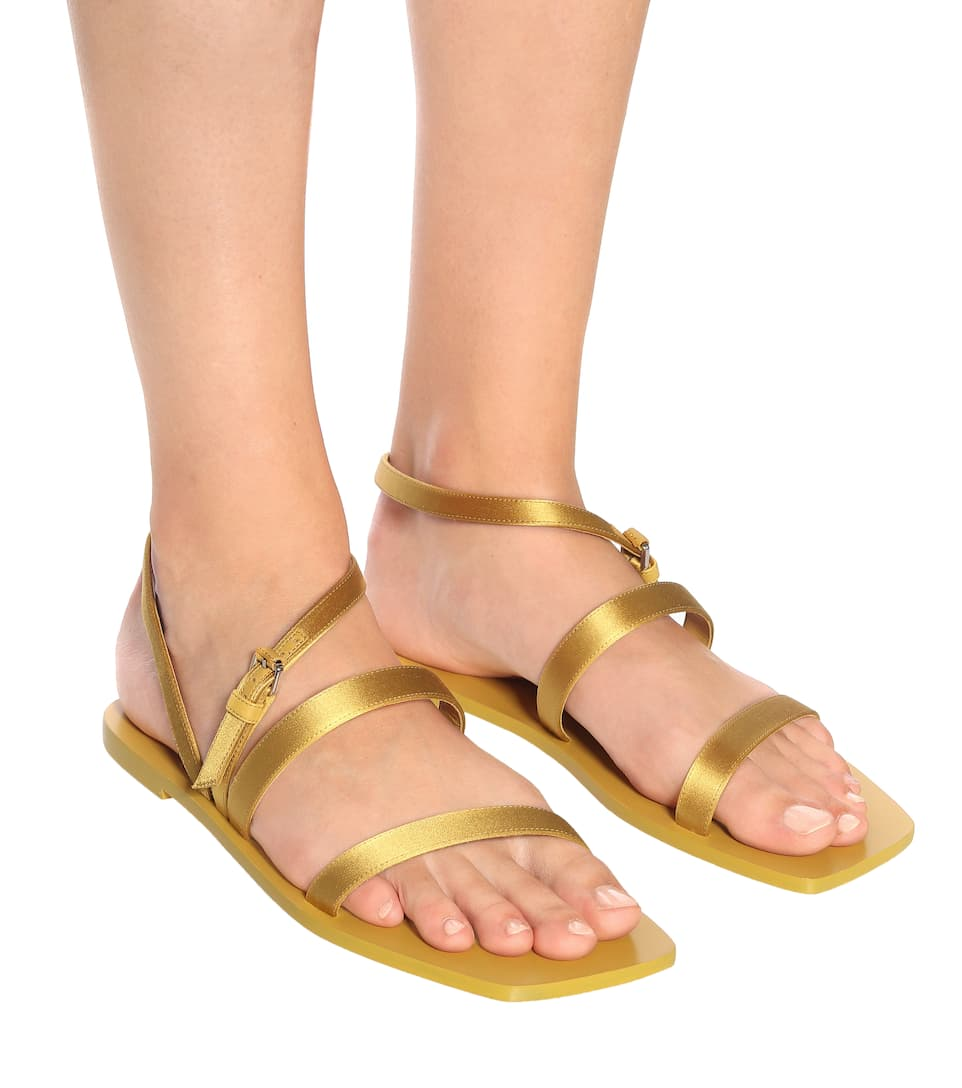 The Row - Exclusive To – Flat Wedge Satin Sandals Big Discount