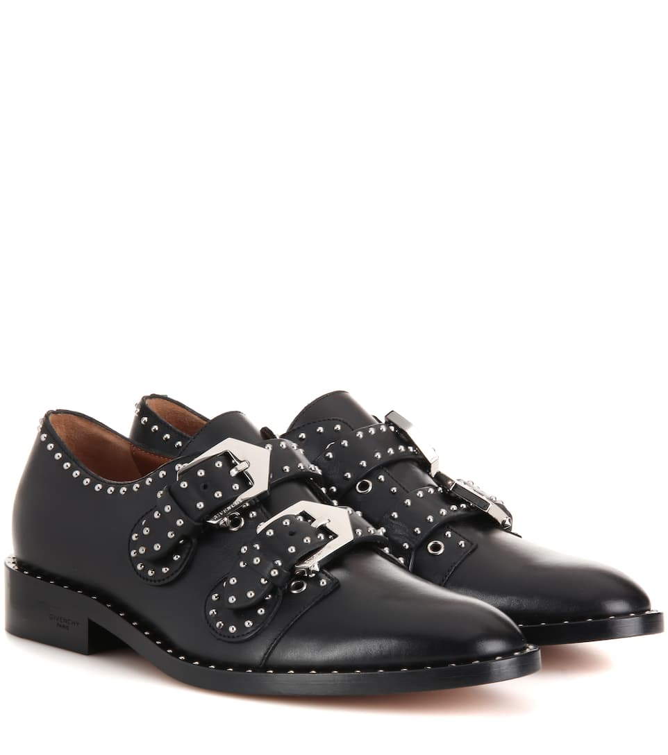 Elegant Embellished Leather Monk Strap Shoes - Givenchy | mytheresa