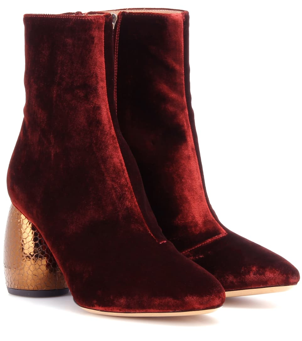 Dries Van Noten Ankle Boots aus Samt