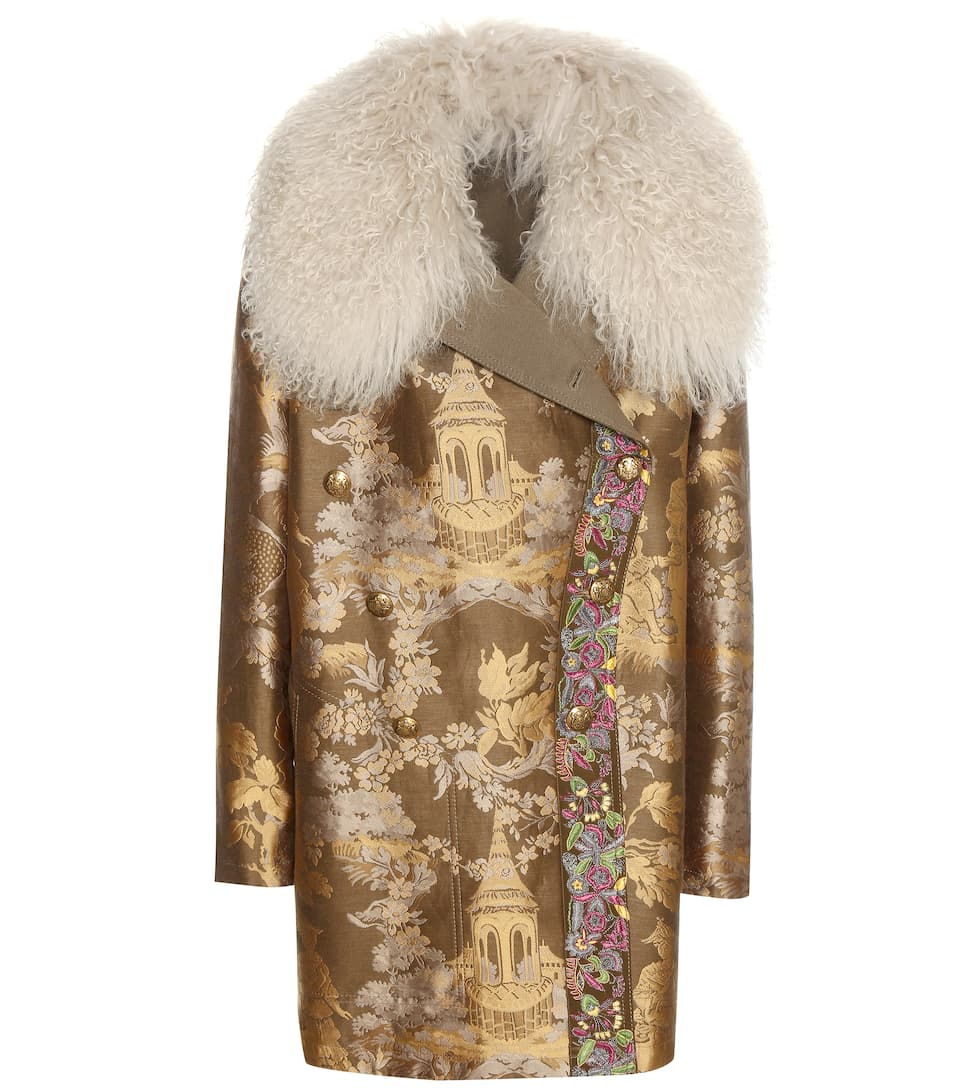 Etro Fur-trimmed brocade coat