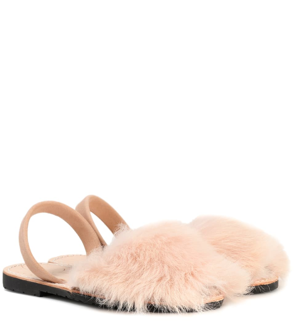 DEL RIO LONDON Exclusive To Mytheresa.Com - Classic Fur And Suede Sandals in Pink