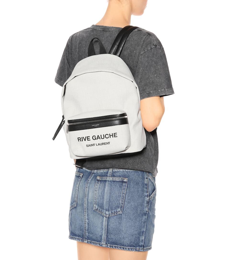 Sneakernews Zum Verkauf Saint Laurent Bedruckter Rucksack aus Canvas mit Leder Professionel Schnelle Lieferung Zu Verkaufen Wiki Günstiger Preis Rabatt Schnelle Lieferung y7l3u