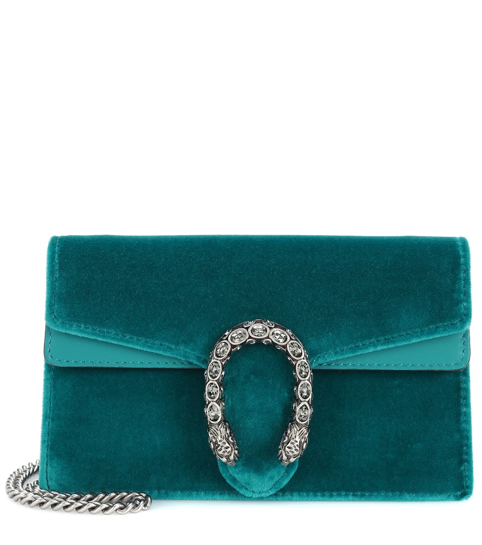 b8198662aa3cd7 Dionysus Velvet And Leather Clutch - Gucci | mytheresa.com