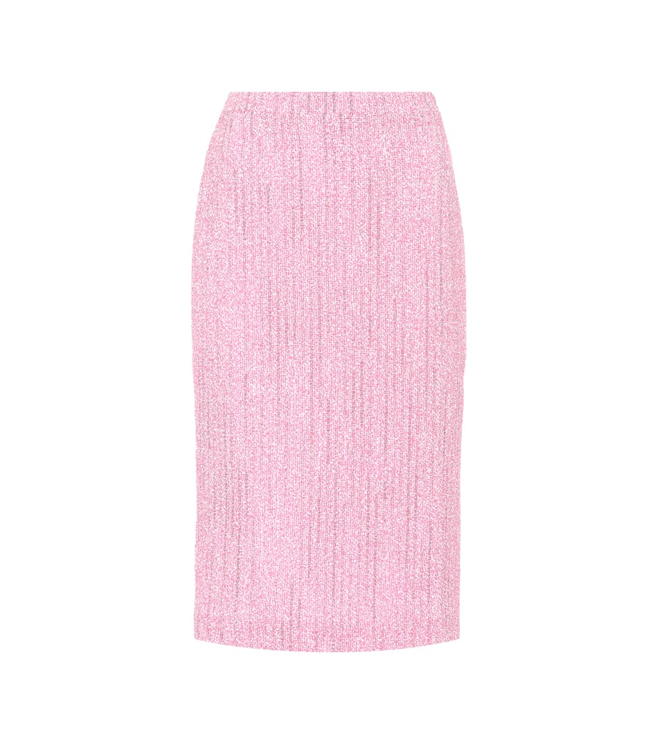 ALESSANDRA RICH Tweed Pencil Skirt in Pink