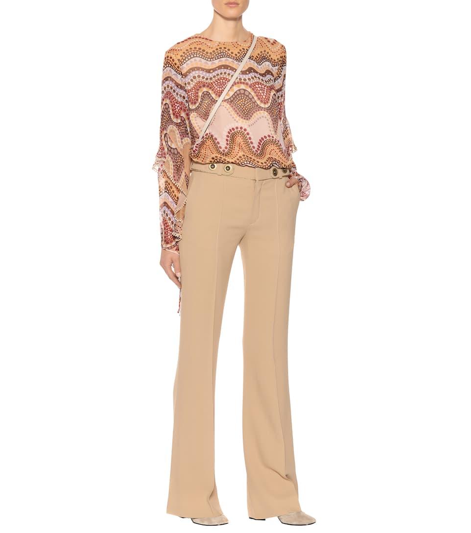 com Marrón cady Café mytheresa Pantalones de Exclusivo para Chloé crêpe qwZB4xtRqn