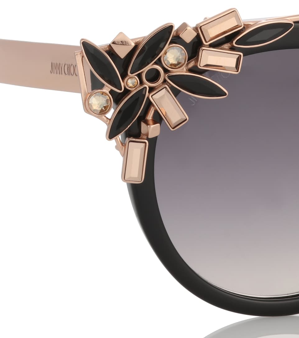 JIMMY CHOO VIVY BLACK AND GOLD ROUND FRAMED SUNGLASSES WITH DETACHABLE JEWEL CLIP ON, DARK GREY SHADED