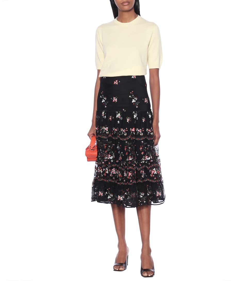 Embroidered Tulle Midi Skirt - Tory Burch