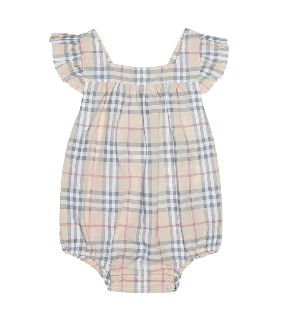 5e9a1397e0a Burberry Kids - Baby Check cotton playsuit