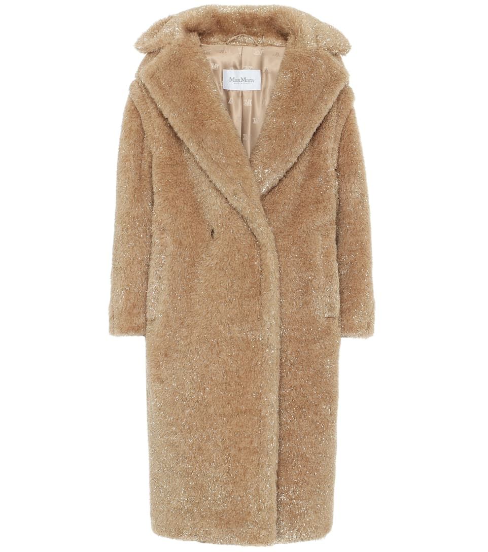 Max Mara Park Metallic Faux Fur Teddy Bear Coat In Beige