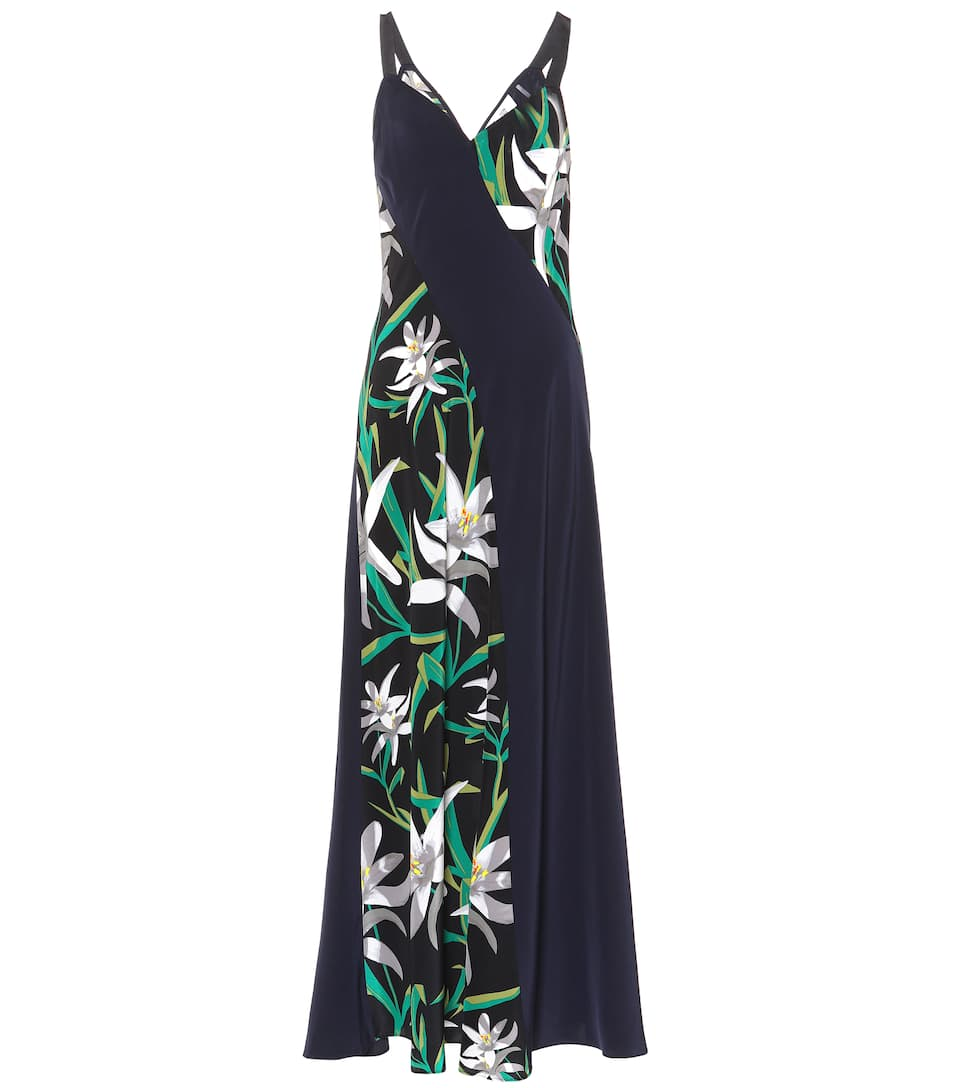 HARLOW FLORAL-PRINT SILK-CREPE DRESS