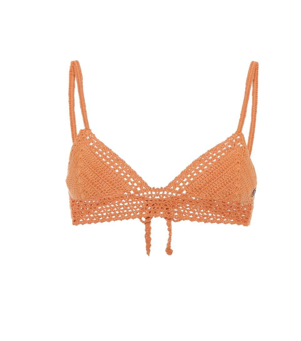 SHE MADE ME Essential Baby Doll Bikini Top in Orange