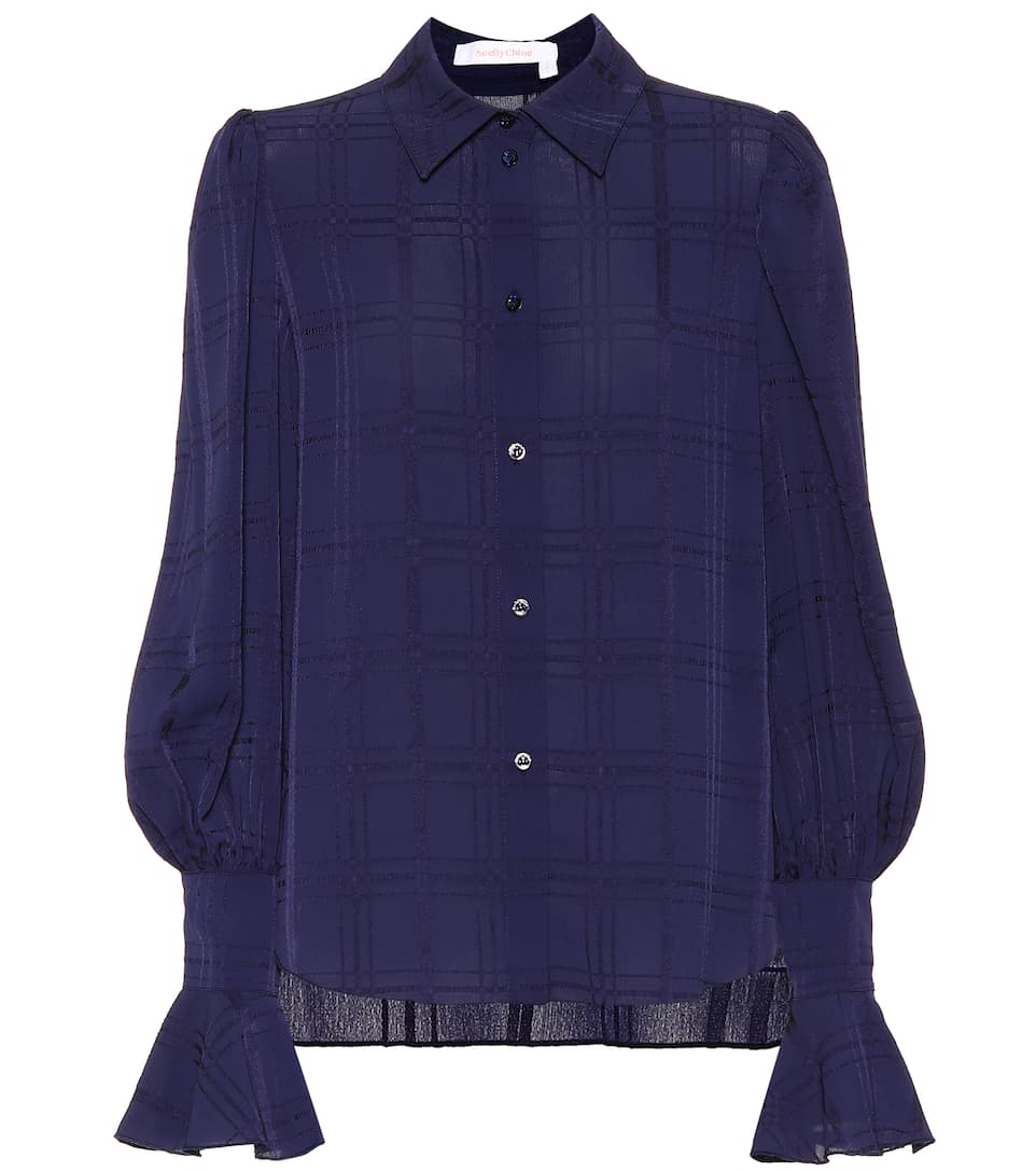 Recommend Cheap Price Get To Buy Cheap Online See By Chloé Plaid crêpe shirt Evening Blue 100% Authentic Sale Online Newest Online Sale Enjoy iPgl6l2Ks