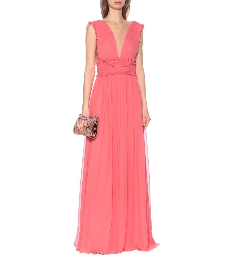 Costarellos - Plissé silk-blend chiffon gown