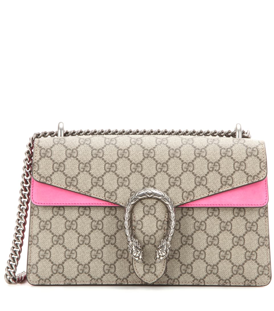 855c914a9542 Gucci Dionysus Gg Supreme Small Coated Canvas And Suede Shoulder Bag ...
