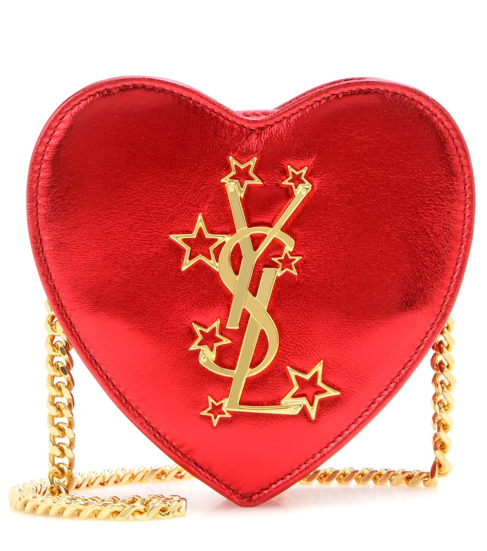 Saint Laurent Mini Love Heart metallic leather crossbody bag