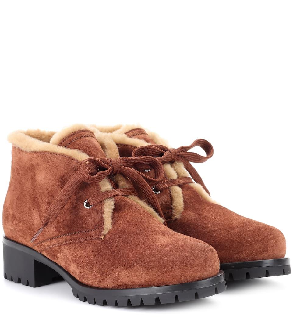 Prada Ankle Boots mit Pelzbesatz