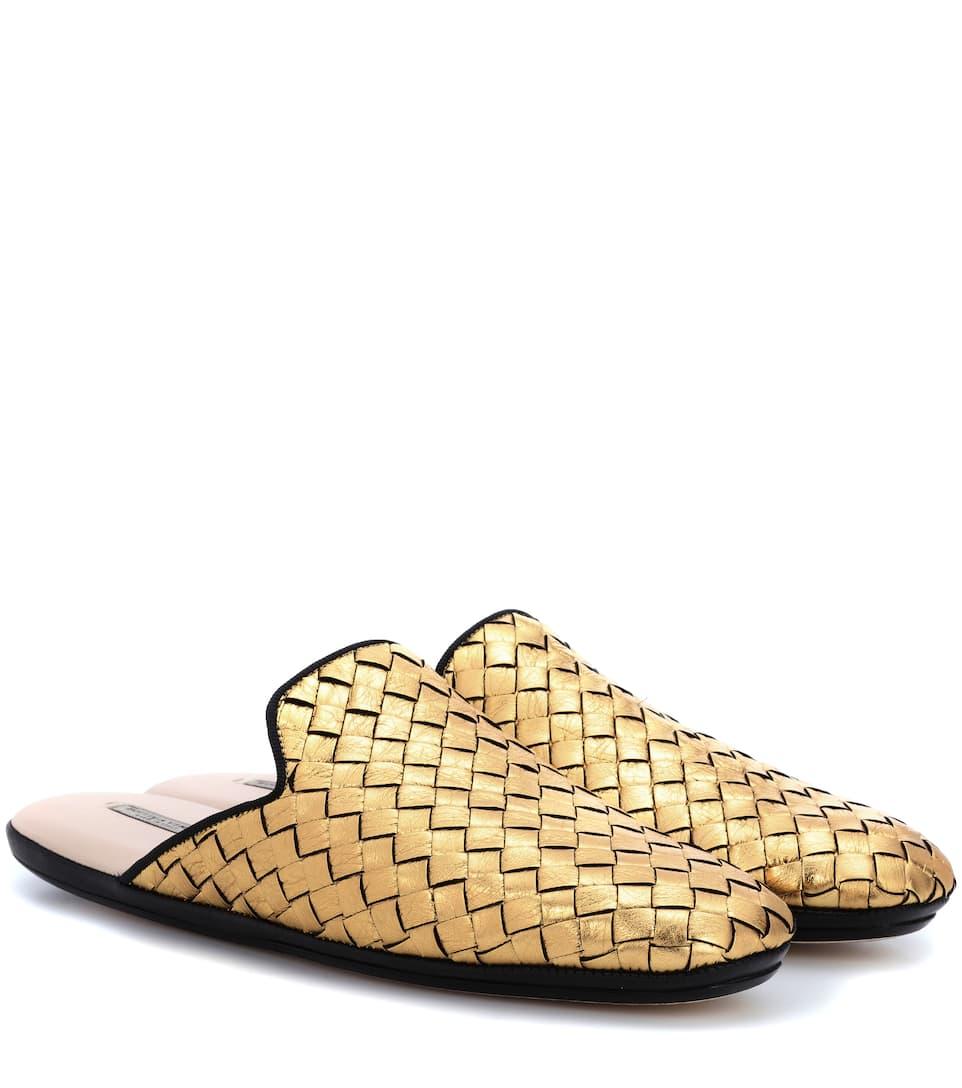 Bottega Veneta Slippers aus Intrecciato-Leder Kosten Für Verkauf Fabrikpreis Spielraum Veröffentlichungstermine Billig Verkauf Shop LhqIgnyC