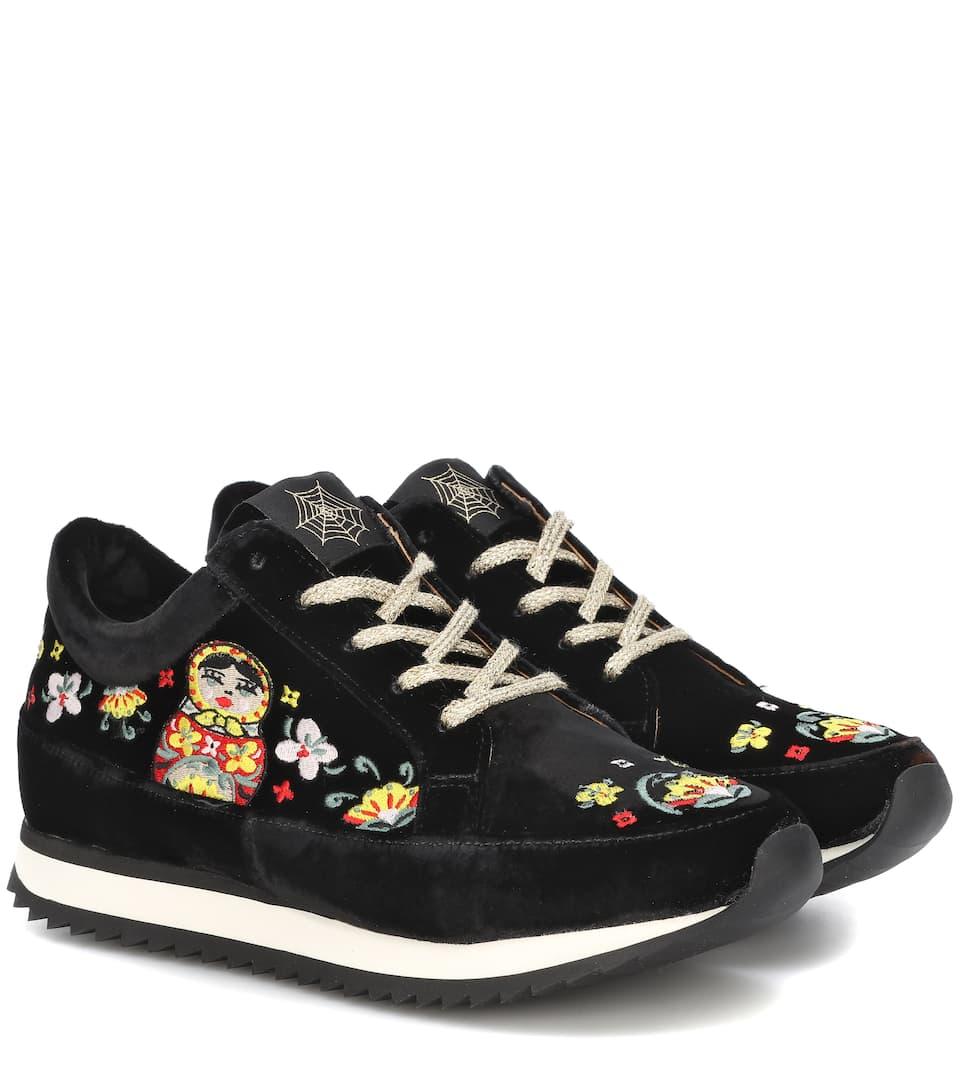Work It Matryoshka Velvet Sneakers by Charlotte Olympia
