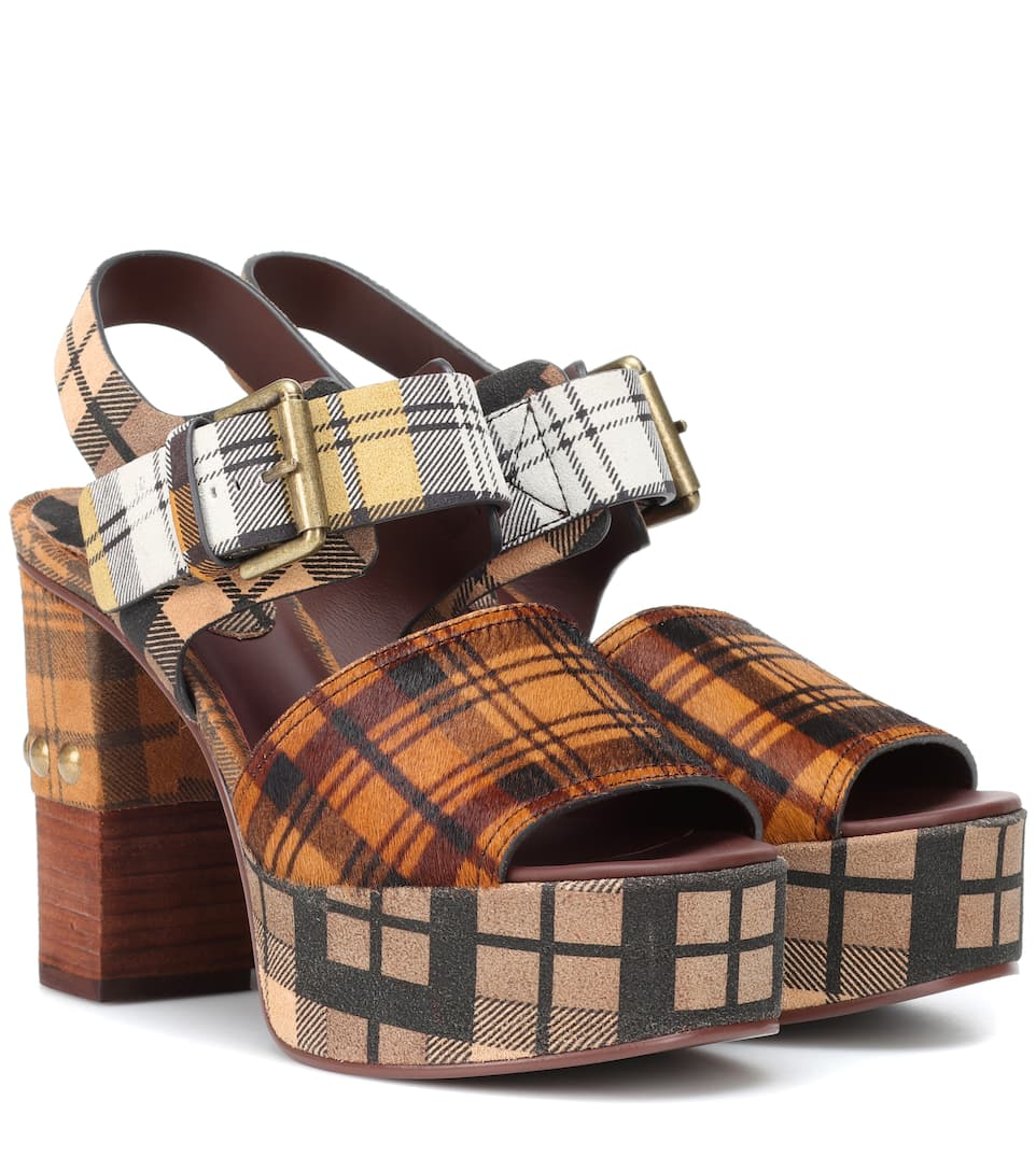 Chloé Plaid plateau sandals 95KBk3wb