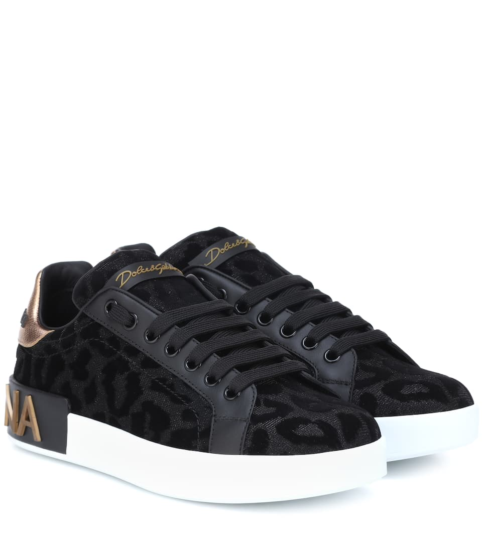 456764c0a14a Dolce   Gabbana - Leopard leather-trimmed sneakers