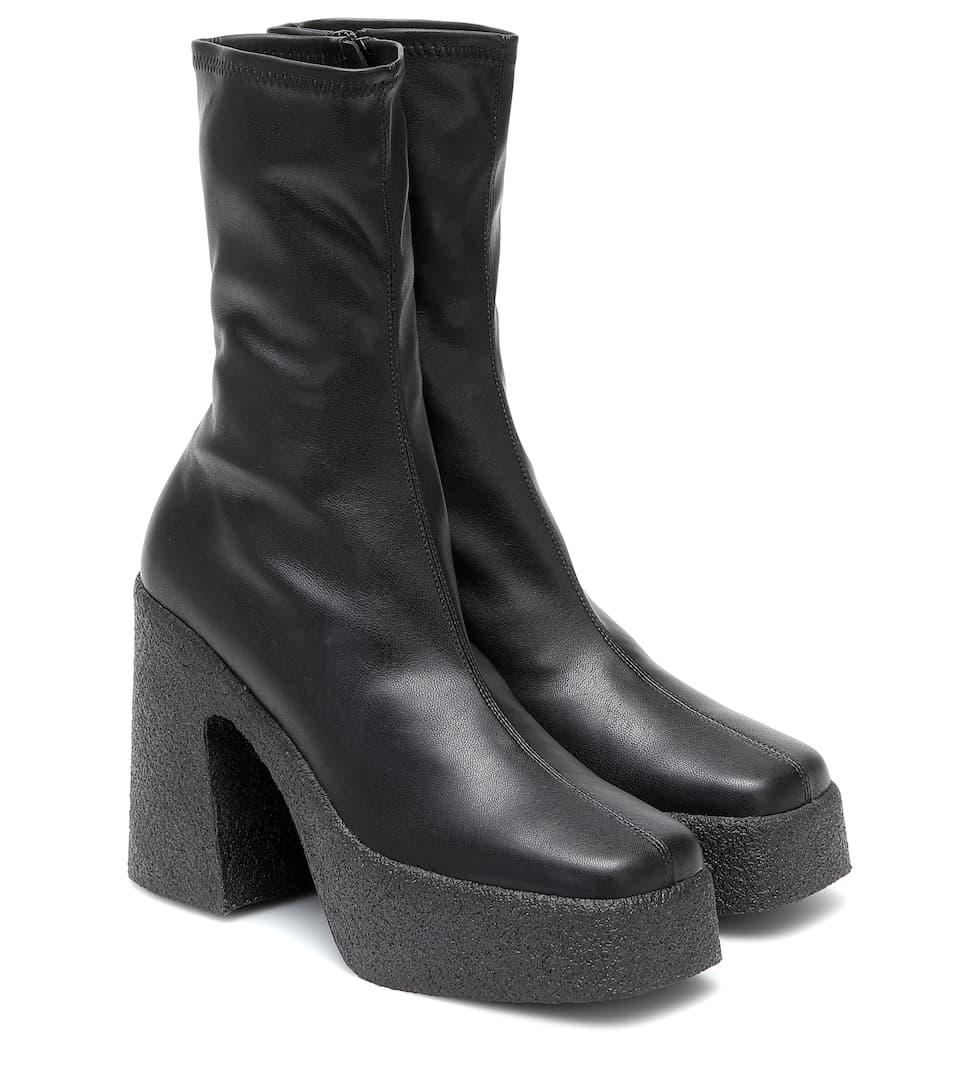 Faux-Leather Platform Ankle Boots