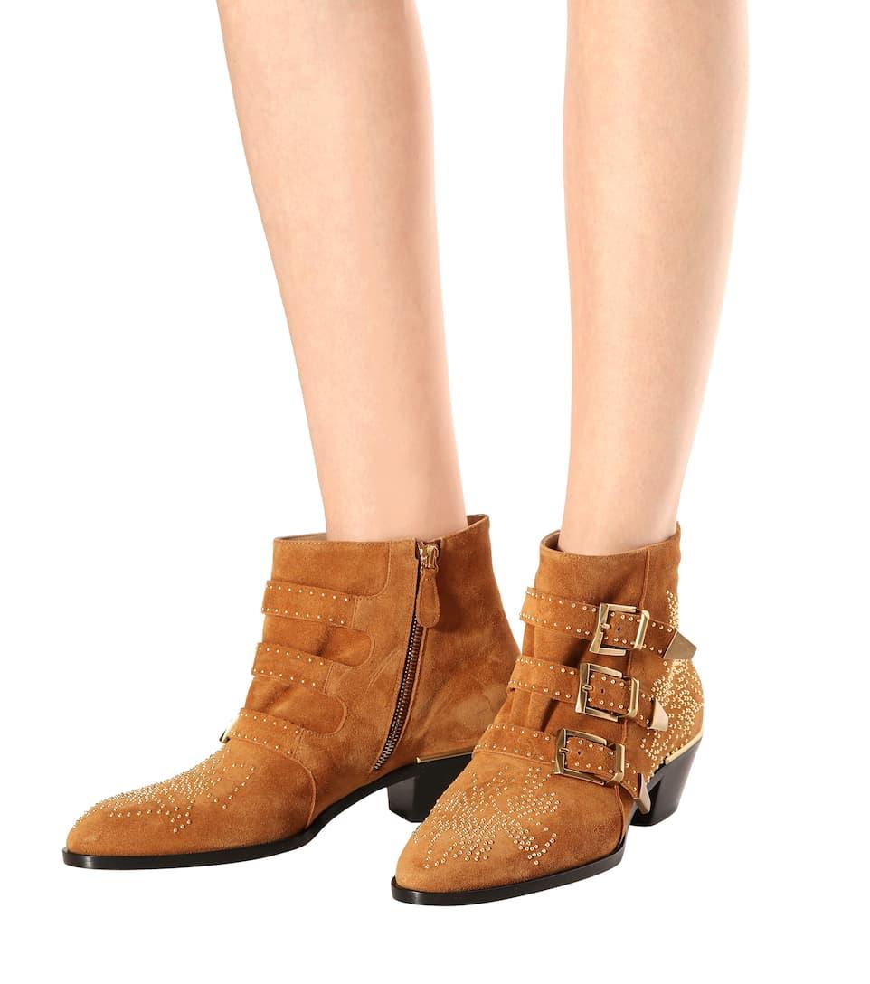 Chloé Exklusiv bei mytheresa.com – Ankle Boots Susanna aus Veloursleder