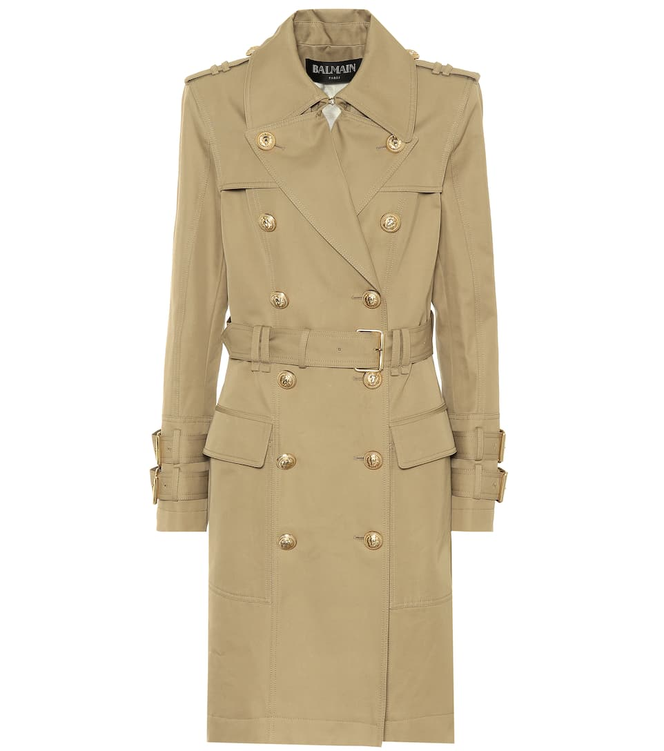 Cotton Trench Coat by Balmain