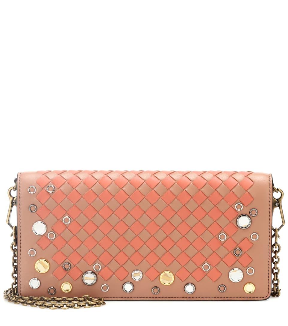 Clearance Best Prices Free Shipping Discounts Bottega Veneta Intrecciato leather wallet shoulder bag Dahlia Hibiscus Online Shop 9K5hp