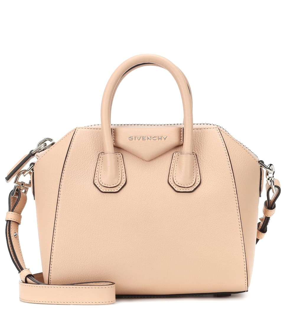 'Mini Antigona' Sugar Leather Satchel - Beige in Pink