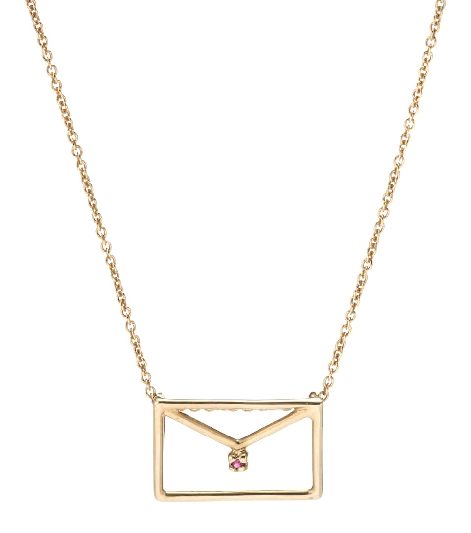 Carta 9kt yellow gold necklace with ruby Aliita LdEEuacS
