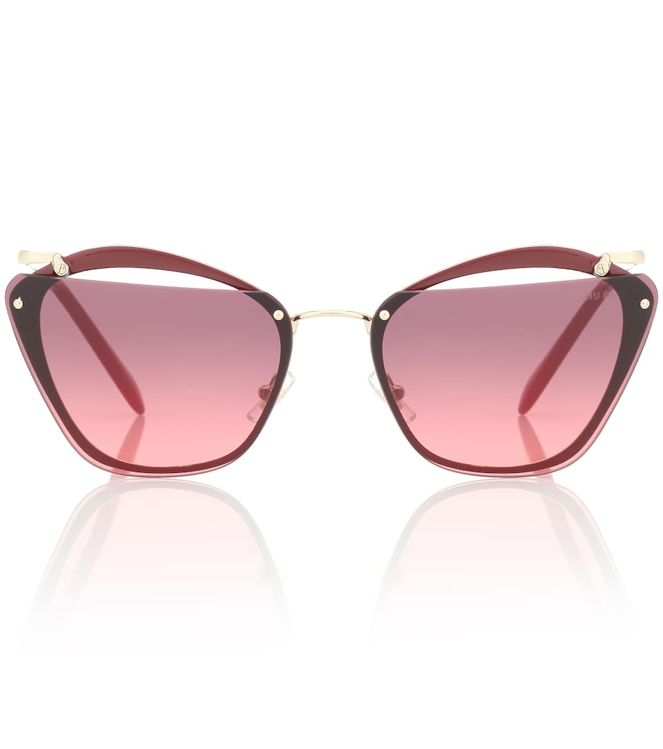 Flattop Cutout Gradient Butterfly Sunglasses in Red