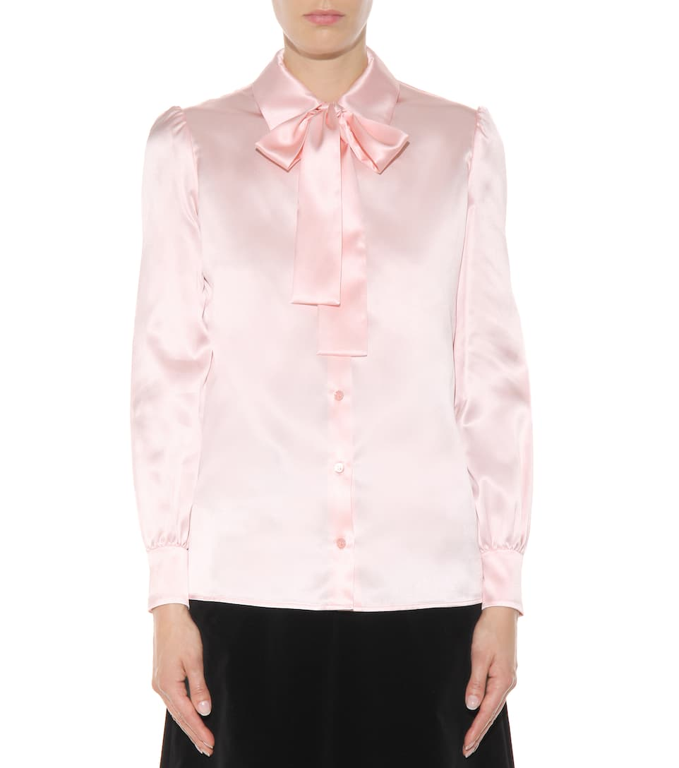 saint laurent silk shirt rose pale modesens