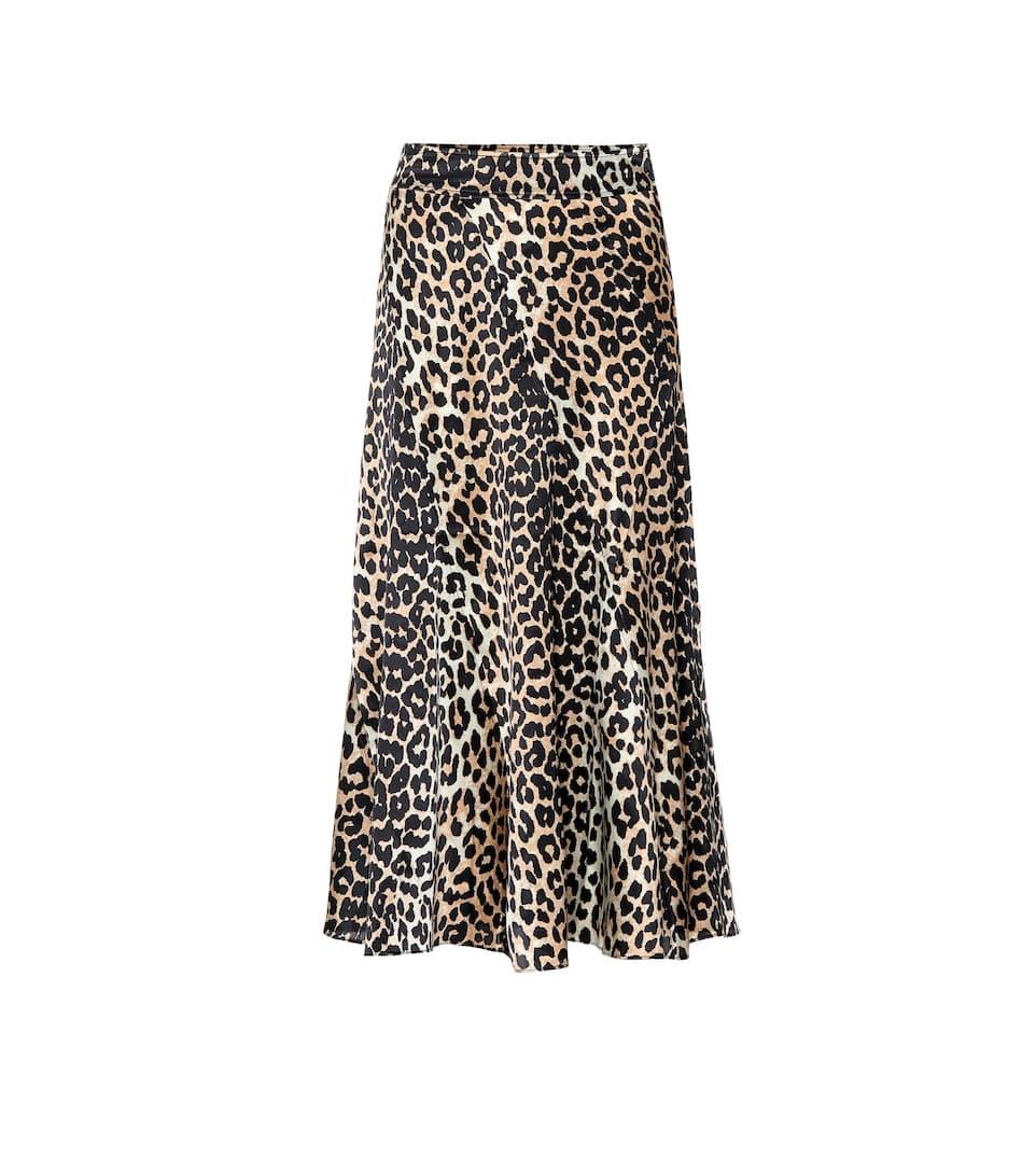 3c0710aa8 Falda midi de seda con print leopardo