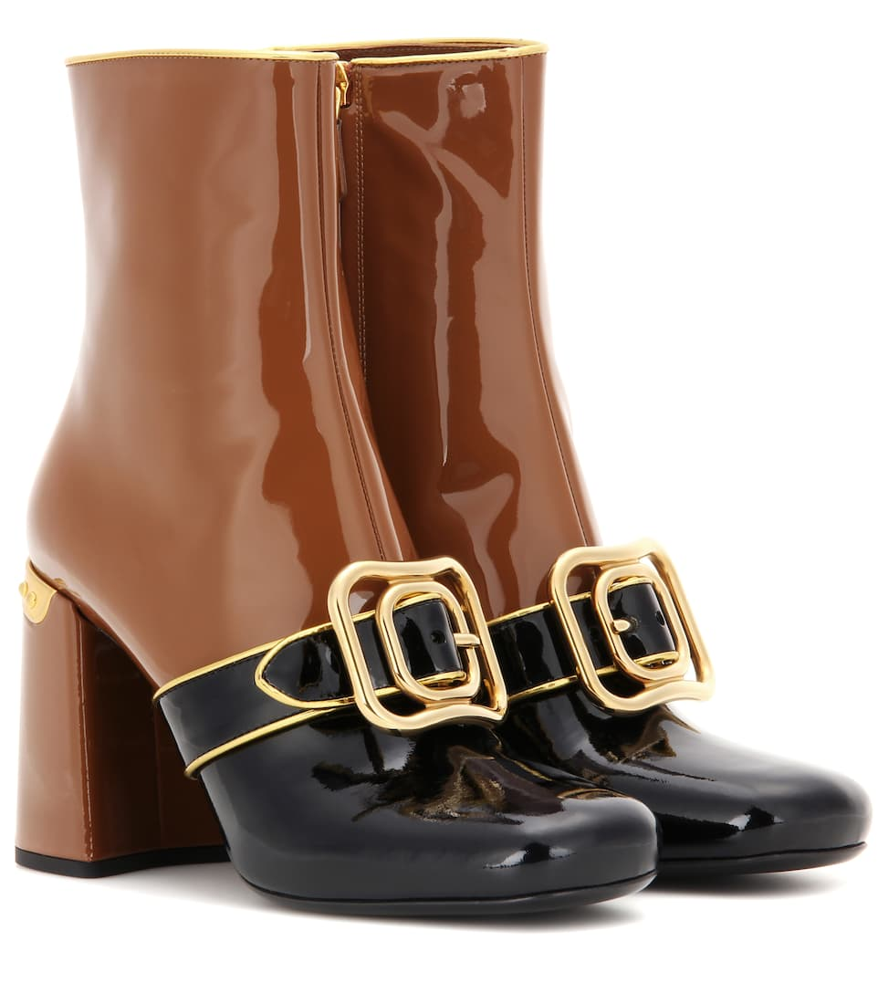 Prada Embellished patent leather ankle boots