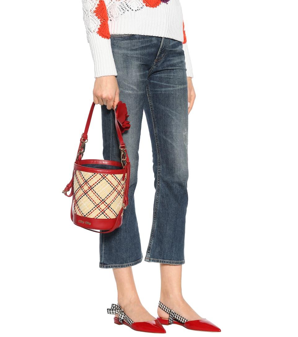 Bucket-Bag aus Stroh mit Lederanteil Miu Miu gzY6DPcuuh