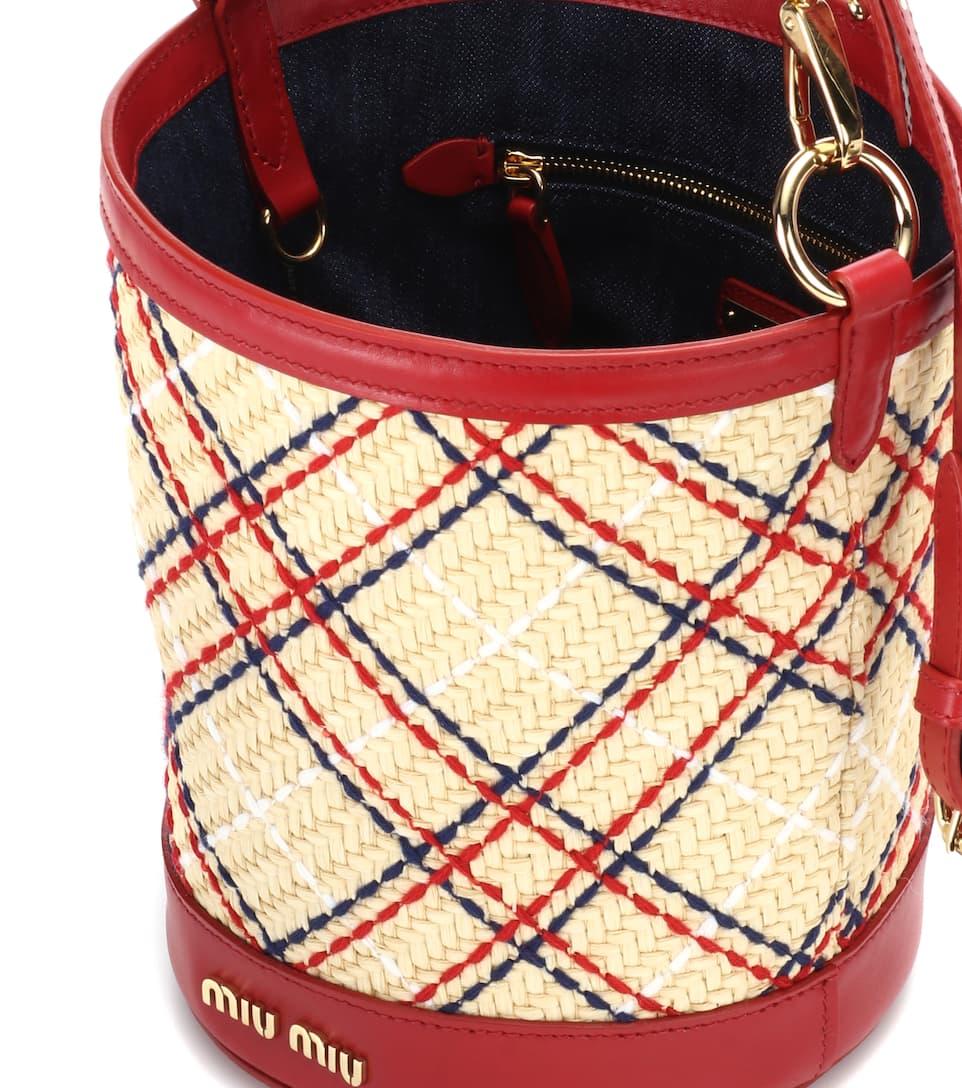Embroidered raffia bucket bag Miu Miu Xx5ANH255