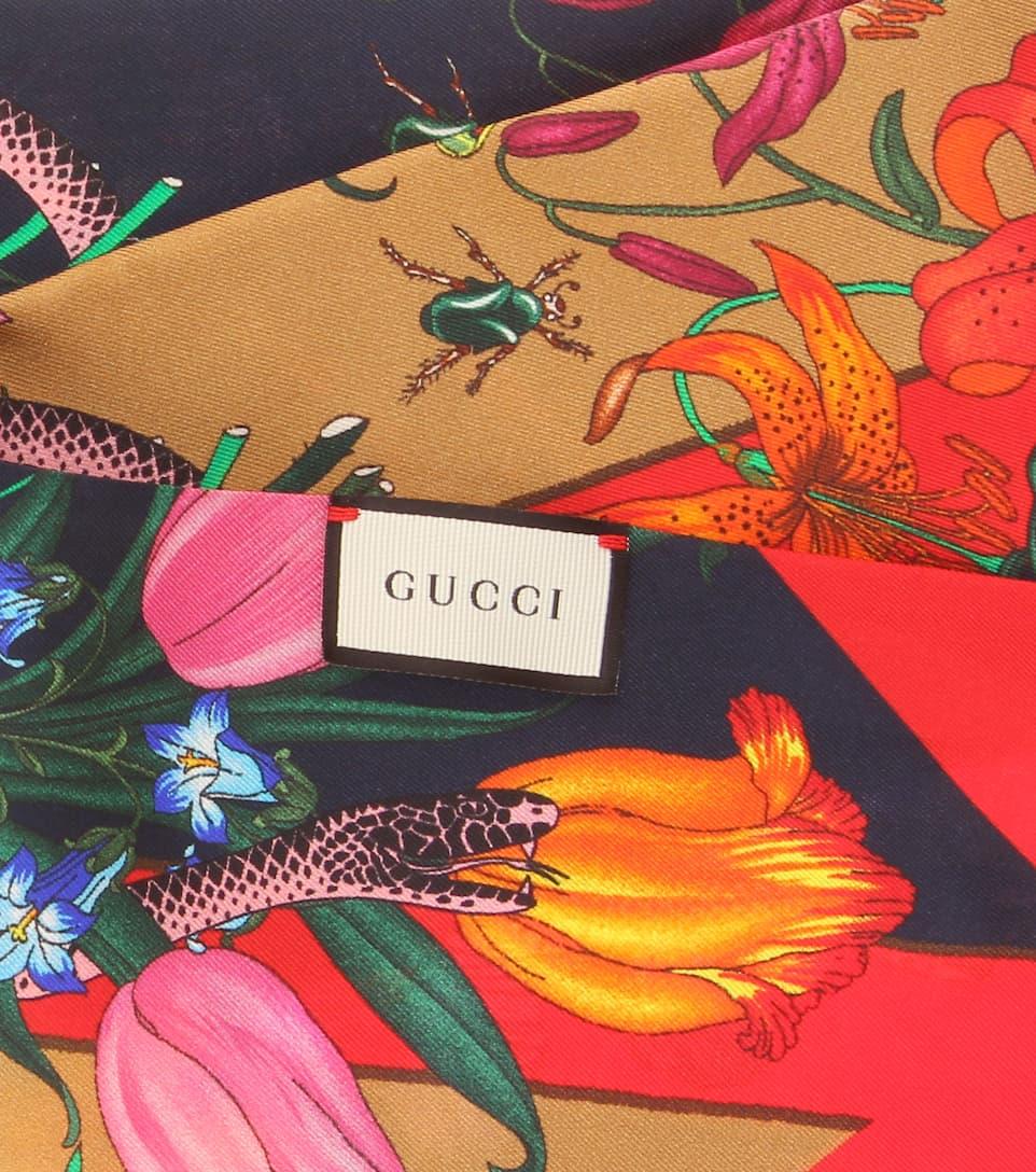 Foulard En Soie Imprimée - Gucci Visite Libre D'expédition xb6DDzW