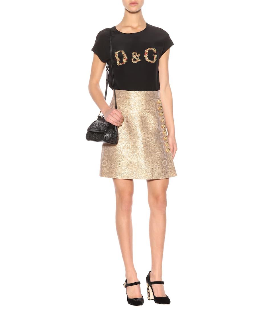 Dolce & Gabbana Verziertes T-Shirt aus Seide