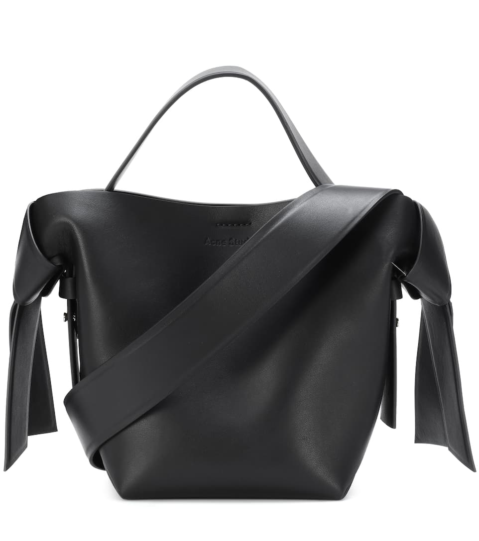Musubi Mini Knotted Leather Shoulder Bag in Black